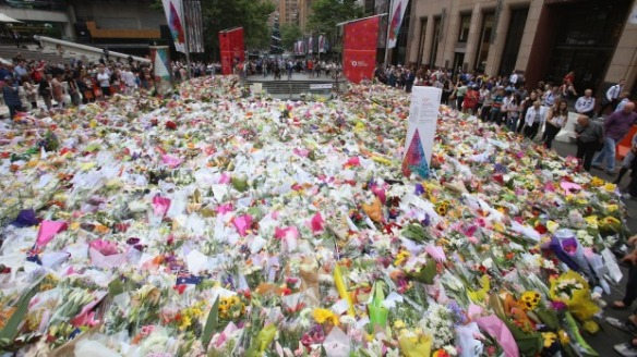 Floral tribute to the Sydney siege victims, at Martin Place, Sydney