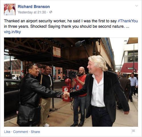 Richard Branson Thank You